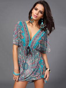 Многоцветная прикрыть шелковое платье без спинки печати молоко глубоко V