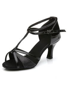 Scarpe da ballo latino nero PU cinghie tacchi