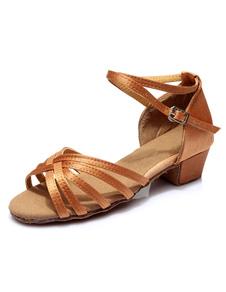 Sandálias de dança latina de cenoura cortar tiras cetim saltos