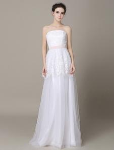العاج فستان الزفاف حمالة عارية الذراعين شاح تول ثوب الزفاف ميلانو