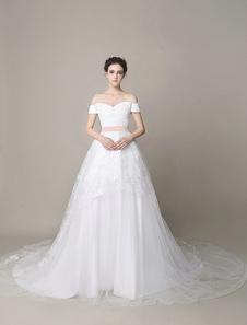 Vestido de noiva Marfim  Bow Off-a-ombro Sash Backless tule  Milanoo