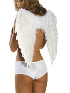 Acessórios do traje do penas de asas de anjo branco  Halloween