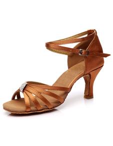 Zapatos baile latino Sandalias de baile latinas Correas recortadas Tacones de satén Zapatos de baile de salón