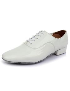 Laço de sapatos dança latina branca vitrificada PU sapatos para homens