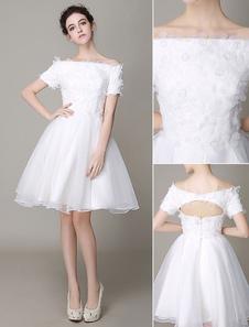 Слоновой кости свадебное платье до колен Off-плечи вырез без бретелек свадебное платье Milanoo