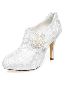 Scarpe da sposa bianche fiori pizzo perle cerniera
