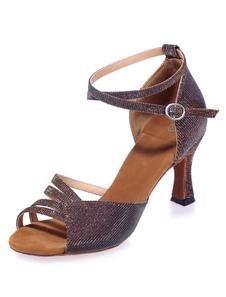Dança Latina marrom sandálias recortadas Glitter saltos para mulheres