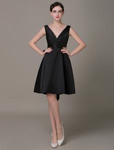 Mergulhando vestido de cocktail preto cinto de pregas a linha pouco vestido preto vestido de convidado do casamento