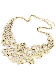 Collana in oro collana Vintage Cut-Out in metallo per le donne
