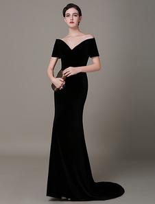 Vestido de noche de terciopelo negro con manga corta y escote en corazón  Milanoo