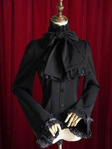 Черный Лолита блузка лук Slim Fit Хлопок Блузки для женщин