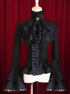 8cbf7adad3560 Lolitashow Black Lolita Blouse Bell Sleeves Ruffles Cotton Blouse for Women     57.99. Lolitashow White Lolita ...