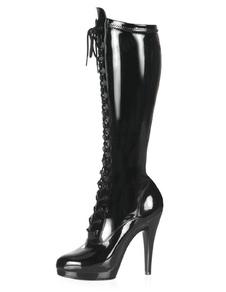 Nero stivali stringati piattaforma PU brevetto tacchi per le donne