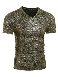 Camiseta multicolor impresión algodón ajuste delgado t-shirt para hombres