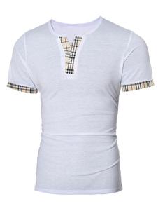 Camiseta Casual de Hombre 2020 a Cuadros Imprimido Cuello V Button Camiseta de Manga Corta