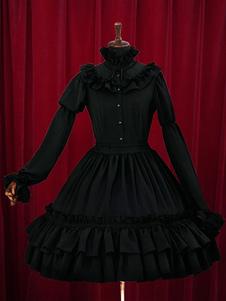 Vestido preto Lolita camadas babados vestido de algodão