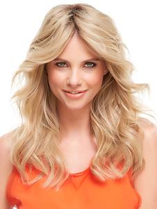 Medio largo rizado peluca albaricoque ligero Parted de fibra peluca para las mujeres