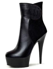 Stivali neri cielo alta piattaforma PU tacchi per le donne