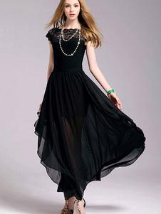 Vestiti Lunghi Nero  Abiti Lunghi forato in chiffon con pizzo smanicato Vestiti Lunghi Eleganti collo squadrato Abiti Abbigliamento  Donna