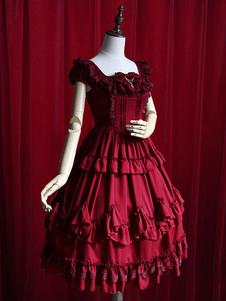 Vestido Lolita Borgonha babados vestido de algodão para as mulheres