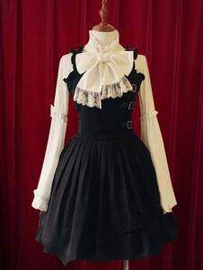 Vestido de algodão preto Lolita vestido cintas fivelas para mulheres
