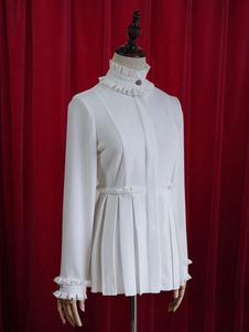 Blusa de algodão chique de blusa plissada branca Lolita para as mulheres