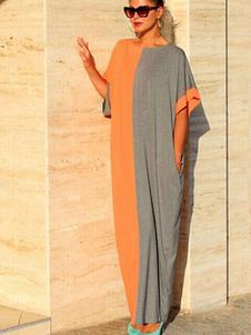 Bloco de cor Maxi vestido vestido de algodão de grandes dimensões