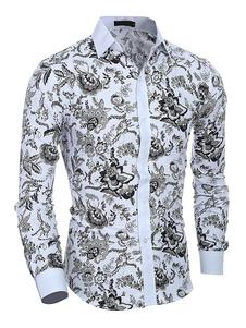 Camicia multicolore per uomo 2020 in cotone con stampa floreale