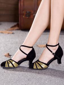 Negro Zapatos de Baile Gamuza Punta Reronda Cruz de Criss Zapatos de Salón Baile Tacón Zapatos de Baile de Mujer