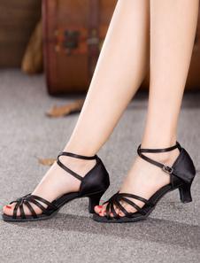 Danza negra sandalias correas satén tacones para las mujeres