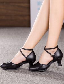 أحذية الرقص اللاتينية جلد البقر الأسود جولة اصبع القدم كريسس الصليب قاعة الأحذية