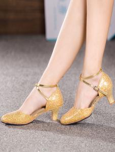 Zapatos De Fiesta Brillantes Dorados Zapatos Baile Latino Con Tacón