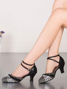 Saltos multicolor das mulheres Glitter com tiras no tornozelo