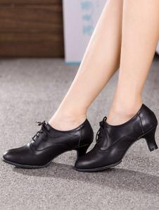 Черный танец кружево обувь вверх каблуки воловьей кожи для женщин