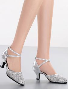 Zapatos De Fiesta 2020 Plateados Brillantes Tiras Cruzadas Punta Redonda Zapatos Baile Latino