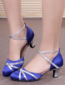 Синие танцевальные сандалии атласная круглая носка Criss Cross бальные туфли латинская обувь для танцев