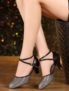 Многоцветная танца босоножки ремни блеск каблуки для женщин