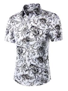 طباعة قميص متعدد الألوان شيك قصيرة الأكمام القطن قميص للرجال