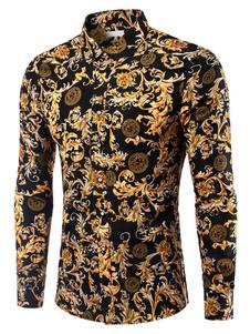 Camicia casual da uomo 2020 a maniche lunghe con stampa a maniche lunghe