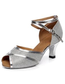 Пип Toe латинский танец сандалии Серебряный ремни блеск каблуки для женщин