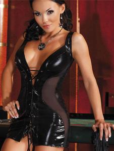 Vestido Mini preto rendas até corte PU clube vestido
