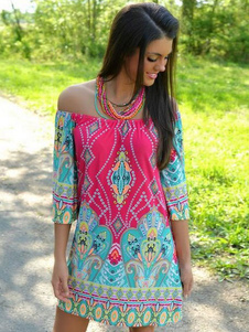Vestidos Dashiki Multicolor Shift Dress Imprimir Off Shoulder Cotton Túnica Vestido