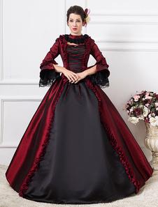 Disfraz Carnaval Traje Retro oscuro victoriana media manga bola vestido traje rojo de las mujeres Halloween Carnaval
