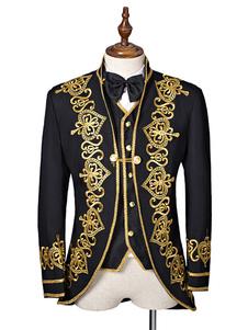 الرجال السود زي الباروك زي معطف المطرزة المحكمة الموحدة زي هالوين
