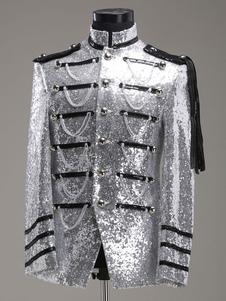 Disfraz Carnaval Traje Retro plata rococó corte de abrigo tela uniforme traje de los hombres Halloween Carnaval