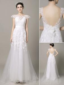 Спинки свадебное платье ленты цветок створки кружева аппликация Cap рукава суд поезд тюль свадебное платье  Milanoo
