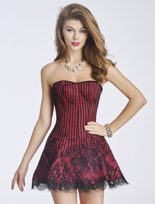 Rojo Corsé Vestido de Encaje 2020 Raya sin Tirantes Lencería Erótica para Mujer
