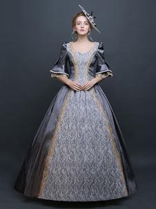 المرأة ريترو زي رمادي الفيكتوري الساتان الكرة ثوب الأميرة زي هالوين 2020