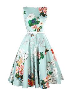 Flare de impressão Floral azul vestido Sash vestido Vintage para as mulheres