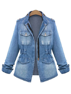 Denim Jacket Military Women Jacket Zippered Spring Coat